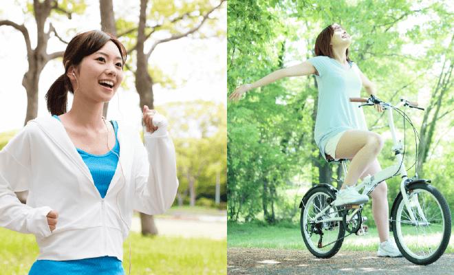 ジョギングとサイクリング